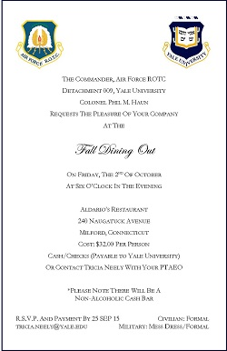Fall dining out invitation yale veterans network fall dining out invitation stopboris Gallery